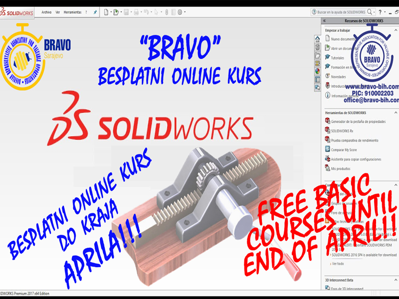 "BRAVO FREE ONLINE BASIC  COURSES OF ""SOLIDWORKS"""