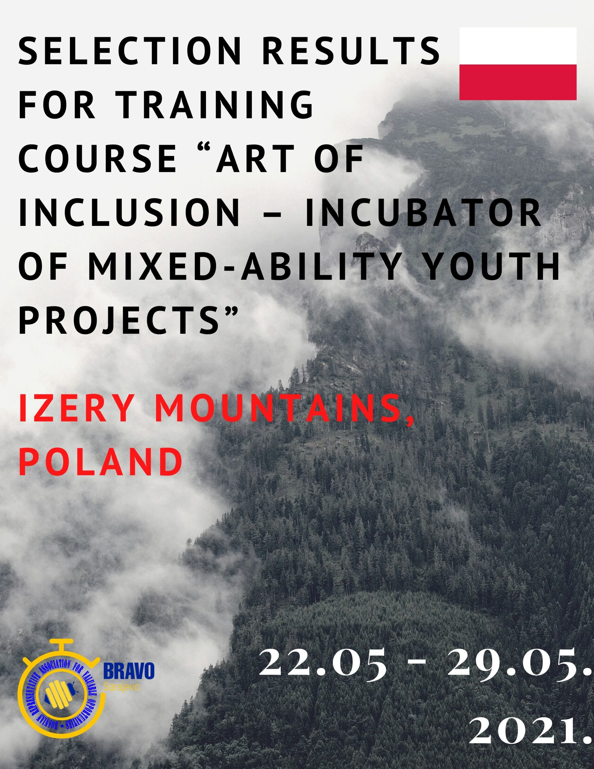 SELECTION RESULTS FOR TRAINING COURSE in Izery Mountains, POLAND