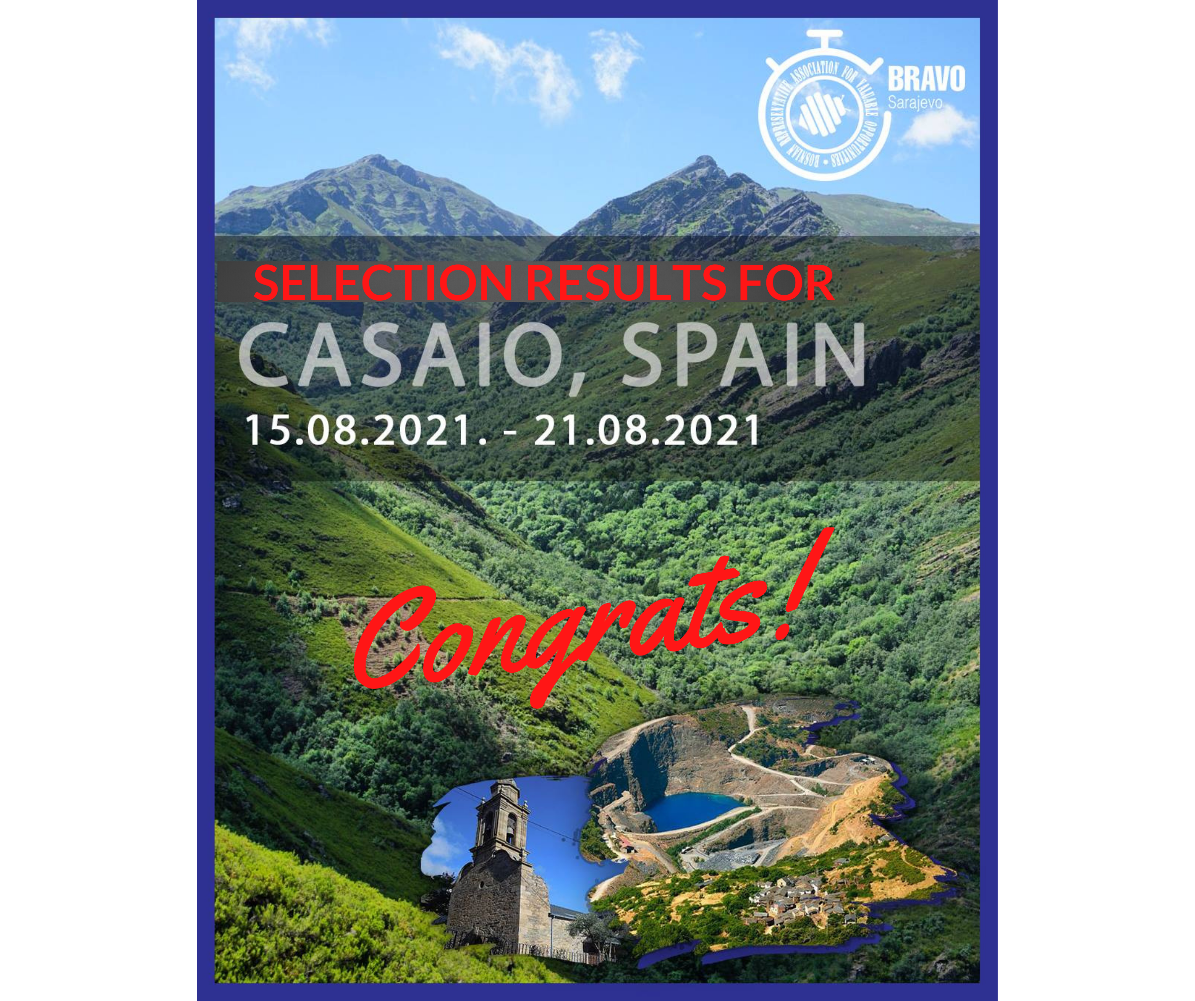 Results for 5 Participants from Bosnia and Herzegovina for Youth Exchange in Casaio, Spain